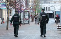 Press Eye - Belfast - Northern Ireland - 8th January 2021. General view of PSNI officers on patrol  in Lisburn city centre, new lockdown restrictions forbidding people from leaving home for non-essential reasons have come into force across Northern Ireland.. The law will remain in place until 6 February but will be reviewed later this month.. Photo by Kelvin Boyes /  Press Eye..