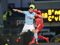 Danske Bank Premiership, Ballymena United vs Cliftonville, The Ballymena Showgrounds, Co. Antrim . 3/4/2018 . Ballymena United\'s Jim. Ervin in action with Cliftonville\'s Jay. Donnelly. Mandatory Credit ©INPHO/Matt Mackey