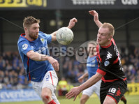 . Danske Bank Premiership Play-Off, Seaview, Belfast 14/4/2018 . Crusaders vs Linfield. Mandatory Credit ©INPHO/Stephen Hamilton. Crusaders  Jordan Owens with Linfields Mark Stafford