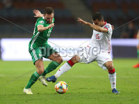 Press Eye - Belfast -  Northern Ireland - 11th June 2019 - Photo by William Cherry/Presseye. Belarus\' Sergei Kislyak with Northern Ireland\'s Corry Evans during Tuesday nights UEFA EURO 2020 Qualifier at the Borisov Arena, Belarus.      Photo by William Cherry/Presseye