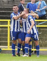 Danske Bank Premiership, Showgrounds, Coleraine 4/8/2018. Coleraine vs Warrenpoint. Coleraine\'s Stephen Lowry celebrates scoring a goal with teammates. Mandatory Credit ©INPHO/Lorcan Doherty