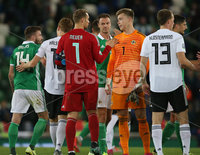 PressEye-Northern Ireland- 9th September  2019-Picture by Brian Little/PressEye. Northern Ireland  Bailey Peacock-Farrell   and Germany Manuel Neuer at the final whistle during Monday\'s  European Championship Qualifying Group C match  at the National  Football Stadium at Windsor Park,Belfast.. Picture by Brian Little/PressEye .