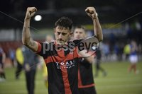 12th September 2017 . Danske Bank Irish premier league match between Crusaders and Linfield at Seaview.. Crusaders goalscorer Jordan Forsythe pictured at the end of tonights game ..  Photo by Stephen Hamilton /Inpho