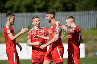 Press Eye Belfast - Northern Ireland 12th August 2017. Danske Bank Irish Premier league match between Cliftonville and Ards at Solitude Belfast.. Cliftonville\'s Joe Gormley celebrates after his deflected cross ends up in the back of the net to make it 4-2.  Photo by Stephen  Hamilton / Press Eye