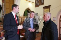 Wednesday 13th September 2017. Mandatory Credit ©Lorcan Doherty Press Eye . Christ Church attacked by vandals . Archdeacon Robert Miller speaking Mark H Durkan (SDLP) and Raymond McCartney (Sinn Fein).. Mandatory Credit ©Lorcan Doherty. Vandals who broke into a Londonderry church have smashed windows and damaged an organ reputed to be one of the most beautiful in Ireland.. The break-in at Christ Church on Infirmary Road was discovered late on Tuesday.. A decanter used in Holy Communion services was also stolen.. Police have yet to establish a motive for the attack, which the Bishop of Derry and Raphoe, the Right Rev Ken Good, has described as