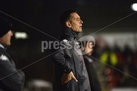 12th September 2017 . Danske Bank Irish premier league match between Crusaders and Linfield at Seaview.. Crusaders manager Stephen Baxter.  Photo by Stephen Hamilton /Inpho
