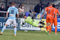 © Presseye.com- August 12th 2017, Danske Bank Premiership.. Warrenpoint Town v Glenavon %:30 Kick off.. Glenavon Keeper, Jonny Tuffey is beaten by Darren Murray\'s shot to make it 1-2. during Saturday\'s match at Milltown. Photo by TONY HENDRON/Presseye.com. .
