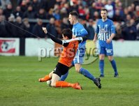 Danske Bank Premiership Play Off Loughshore Hotel Arena, Carrickfergus. Wednesday 9 May 2018. Carrick Rangers FC vs Newry City FC. Mark Surgenor Carrick and Thomas McCann Newry. Mandatory Credit ©INPHO/Freddie Parkinson