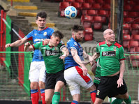 Danske Bank Premiership, The Oval, Belfast, Northern Ireland. 1/5/2021. Glentoran vs Linfield FC . Glentoran Marcus Kane and Linfield Mark Stafford  . Mandatory Credit INPHO/Presseye/Brian Little