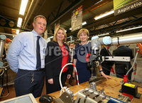 Press Eye - Belfast - Northern Ireland - 11th January 2019. NO PICTURE FEE. The Rt Hon Karen Bradley MP, Secretary of State for Northern Ireland, today visited the Farm Lodge Campus of Northern Regional College in Ballymena. Mrs Bradley was given a tour of the Campus and met with staff and students from the engineering department, who showcased the work they are doing in the area of robotics.. Pictured along with Alan Reid, Lecturer in Engineering and Professor their Scott, Principal & chief executive Northern Regional college. Picture Matt Mackey / Press Eye.