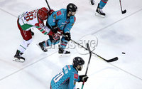 Press Eye - Belfast, Northern Ireland - 01st February 2020 - Photo by William Cherry/Presseye. Belfast Giants\' Ryan Lowney with Cardiff Devils\' Joey Martin during Sunday afternoons Elite Ice Hockey League game at the SSE Arena, Belfast.   Photo by William Cherry/Presseye