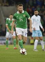 11th August 2018. International Friendly match between . Northern Ireland and Israel  at the national stadium in Belfast.. Northern Irelands Stuart Dallas.  Mandatory Credit: Stephen Hamilton /Presseye