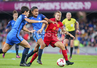 Press Eye Belfast - Northern Ireland 8th August 2017. 2017 UEFA Women\'s Under-19 Championship Final at the National Stadium at Windsor Park, Belfast.  France Vs Spain. France\'s Sana Daoudi with Spain\'s Patricia Guijarro. Picture by Jonathan Porter/PressEye.com.