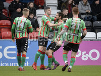 Danske Bank Premiership, Seaview Belfast.. 10/02/2018.  Crusaders v Glentoran. Glentorans Alex OHanlon celebrates after firing the Glens into a 1-0 lead. Mandatory Credit ©INPHO/Stephen Hamilton.