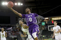 Press Eye - Belfast -  Northern Ireland - 30th November 2018 - Photo by William Cherry/Presseye. Stephen F. Austin\'s Aaron Augustin during Friday afternoons game in the Goliath bracket of the Basketball Hall of Fame Belfast Classic at the SSE Arena, Belfast.