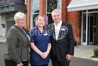 PressEye - Belfast - Northern Ireland - 12th September 2017. Pictured: CEO of NI Hospice Heather Weir, IPU Manager Meghan Morgan, and Eamonn Holmes, new NI Hospice Ambassador. . Picture: Philip Magowan / PressEye