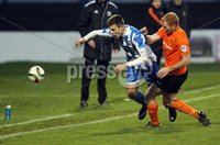 Mandatory Credit - Picture by Freddie Parkinson/Press Eye ©. Saturday 21st November 2015. NIFL Premiership. The Showgrounds, Coleraine.. Coleraine FC vs. Carrick Rangers FC. Coleraine\'s Brad Lyons and Carrick\'s Joe McNeill.