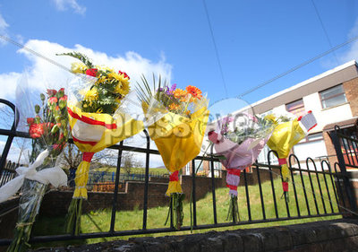 Flowers at North Belfast Crash Sce...