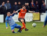 Danske Bank Premiership Play Off Loughshore Hotel Arena, Carrickfergus. Wednesday 9 May 2018. Carrick Rangers FC vs Newry City FC. Mark Hughes Newry and Michael Smith Carrick. Mandatory Credit ©INPHO/Freddie Parkinson