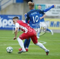 Danske Bank Premiership, Mourneview Park, Lurgan 4/8/2018. Glenavon FC vs  Linfield FC. Glenavon\'s  Mark Sykes     and  Joel Cooper  of Linfield.. Mandatory Credit @INPHO/Brian Little.