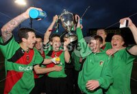 Presseye Northern Ireland - 14th May 2012 Mandatory Credit - Photo-William Cherry/Presseye. George Wilson Cup Final - Glentoran II\'s v Cliftonville Olympic. Glentoran II\'s Jamie McGovern and Matthew Johnston lift the George Wilson Cup after defeating Cliftonville Olympic during Monday nights Cup Final at Seaview, Belfast.