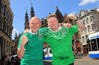 ©Press Eye Ltd Northern Ireland - 1st June 2012. Mandatory Credit - Picture by Darren Kidd/Presseye.com .  .  Northern Ireland fans in Amsterdam ahead of their international friendly against the Netherlands on Saturday evening.. Northern Ireland fans Stephen Snoddy and Iain McKeen from Larne
