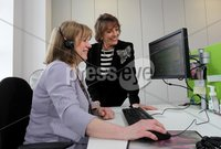 Presseye Northern Ireland - 01st May 2012 Mandatory Credit - Photo-William Cherry/Presseye. ChildLine Volunteer Councillor Anne Murray pictured chatting with ChildLine founder Esther Rantzen during a visit to the Belfast base.