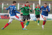 Danske Bank Premiership, The Oval, Belfast, Northern Ireland. 1/5/2021. Glentoran vs Linfield FC . Glentoran Robbie McDaid  evades  Linfield Mark Haughey and Kirk Millar  . Mandatory Credit INPHO/Presseye/Brian Little