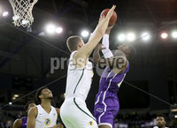 Press Eye - Belfast -  Northern Ireland - 30th November 2018 - Photo by William Cherry/Presseye. San Francisco\'s Jimbo Lull with Stephen F. Austin\'s Karl Nicholas during Friday afternoons game in the Goliath bracket of the Basketball Hall of Fame Belfast Classic at the SSE Arena, Belfast.