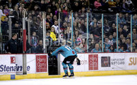 Press Eye - Belfast, Northern Ireland - 06th March 2020 - Photo by William Cherry/Presseye. Belfast Giants\' Matt Pelech gets injured during Friday nights Elite Ice Hockey League game against Fife Flyers at the SSE Arena, Belfast.   Photo by William Cherry/Presseye