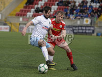 13th April 2019. Danske Bank Irish premiership. Cliftonville v Ballymena United at Solitude Belfast.. Cliftonville\'s Liam Bagnall  in action with Ballymena\'s Johnathan McMurray. Mandatory Credit -Inpho/Stephen Hamilton .