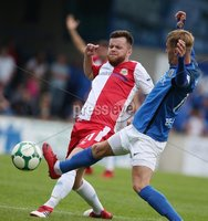 Danske Bank Premiership, Mourneview Park, Lurgan 4/8/2018. Glenavon FC vs  Linfield FC. Glenavon\'s Mark Sykes     and  Niall Quinn  of Linfield.. Mandatory Credit @INPHO/Brian Little.