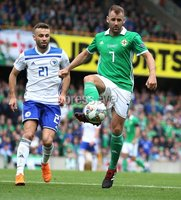 PressEye-Northern Ireland- 8th September  2018-Picture by Brian Little/ PressEye. Northern Ireland  Niall McGinn     and Bosnia and Herzegovina  Elvis Saric    during  Saturday\'s  UEFA Nations League match at the National Football Stadium at Windsor Park.. Picture by Brian Little/PressEye .