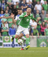 8th August 2018. Northern Ireland v Bosnia & Herzegovina at the national stadium in Belfast.. Northern Ireland Liam Boyce.  Mandatory Credit: Stephen Hamilton /Presseye