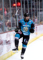 Press Eye - Belfast -  Northern Ireland - 14th September 2018 - Photo by William Cherry/Presseye. Belfast Giants\' Dustin Johner celebrates scoring against the Dundee Stars during Friday nights Challenge Cup game at the SSE Arena, Belfast.       Photo by William Cherry/Presseye