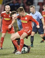 7th August 2018. Danske Bank Irish premier league match between Cliftonville and Institute at Solitude in Belfast.. Cliftonvilles Ryan Curran  in action with Institutes Callum Moorehead.  Mandatory Credit: Stephen Hamilton /Inpho
