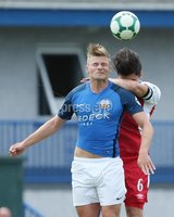 Danske Bank Premiership, Mourneview Park, Lurgan 4/8/2018. Glenavon FC vs  Linfield FC. Glenavon\'s Andrew Mitchell    and Jimmy Callacher   of Linfield.. Mandatory Credit @INPHO/Brian Little.