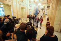 Press Eye - Belfast - Northern Ireland - 3rd December 2018. Northern Ireland\'s four pro-Remain parties meet representatives of civic society including Queens University and the University of Ulster, leaders of the student unions, the Irish Congress of Trade Unions and with NICVA and the CAJ regarding the impact of Brexit: on Education, on opportunities for students to study abroad, on the voluntary and community sectors, on workers rights and on the rights of citizens at Stormont in east Belfast. . Left to right.  Alliance party\'s Stephan Farry, SDLP leader Colum Eastwood, Sinn Fein leader of the north Michelle O\'Neill and The Green Party\'s leader Clare Bailey speak to the media in the Great Hall at Stormont. . Picture by Jonathan Porter/PressEye