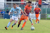 © Presseye.com- August 12th 2017, Danske Bank Premiership.. Warrenpoint Town v Glenavon %:30 Kick off.. Warrenpoint\'s Marty Murray. and Glenavon\'s Adam Foley. during Saturday\'s match at Milltown. Photo by TONY HENDRON/Presseye.com. .