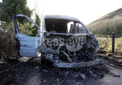 Burnt out van, Ballygomartin Road ...