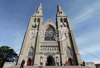 ©Press Eye Ltd Northern Ireland - 6th May 2012 - Mandatory Credit - Picture by Matt Mackey/presseye.com. Worshipers leave Armagh Cathedral after Sunday morning Mass.