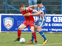 Danske Bank Premiership Play-Off, The Ballymena Showgrounds, Co. Antrim 7/4/2018 . Coleraine vs Cliftonville. Stephen Garrett for Cliftonville and Aaron Traynor for Coleraine. Mandatory Credit ©INPHO/Freddie Parkinson
