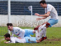 Danske Bank Premiership at Coleraine Showgrounds, Coleraine  09.03.2019. Coleraine FC Vs Ballymena United. . Ballymena\'s Andrew McGrory(on ground) celebrates after he scores to make it 0-4 and gets a hat trick. . . Mandatory CreditINPHO/PressEye.com/Jonathan Porter.
