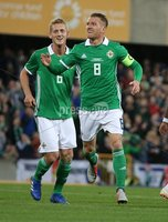 PressEye-Northern Ireland- 11th September  2018-Picture by Brian Little/ PressEye. Northern Ireland Steven Davis celebrates scoring the opening goal against  Israel     during  Tuesday\'s  Friendly International Challenge match at the National Football Stadium at Windsor Park.. Picture by Brian Little/PressEye