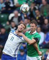 PressEye-Northern Ireland- 8th September  2018-Picture by Brian Little/ PressEye. Northern Ireland Jonny Evans     and Bosnia and Herzegovina  Edin Dzeko    during  Saturday\'s  UEFA Nations League match at the National Football Stadium at Windsor Park.. Picture by Brian Little/PressEye .