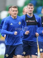 PressEye-Northern Ireland- 10th September  2018-Picture by Brian Little/ PressEye. Northern Ireland  Steven Davis     training ahead of Tuesday Friendly International Challenge match against Israel  at the National Football Stadium at Windsor Park.. Picture by Brian Little/PressEye .