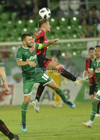 Wednesday 11th July 2018. UEFA Champions League First Qualifying Round First Leg between PFC Ludogorets Razgrad and Crusaders FC .. Ludogorets Svetoslav Atanasov Dyakov  in action with Crusaders Mathew Snoddy. Mandatory Credit: Inpho/Stephen Hamilton