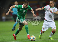 Press Eye - Belfast -  Northern Ireland - 11th June 2019 - Photo by William Cherry/Presseye. Belarus\' Denis Polyakov with Northern Ireland\'s Paddy McNair during Tuesday nights UEFA EURO 2020 Qualifier at the Borisov Arena, Belarus.      Photo by William Cherry/Presseye