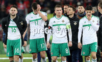 Press Eye - Belfast -  Northern Ireland - 12th November 2017 - Photo by William Cherry/Presseye. Northern Ireland\'s Oliver Norwood, Paddy McNair, Steven Davis and Jordan Jones are dejected after drawing 0-0 with Switzerland but lost the World Cup Play Off 1-0 over the two games.