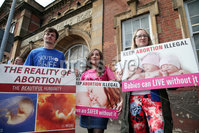Press Eye - Belfast - Northern Ireland  - 8th August 2017 . . Pro life protestors outside Falls Library as Labour MP Stella Creasy speaks at an abortion event in west Belfast as part of the west Belfast Festival.. Photo by Kelvin Boyes  / Press Eye.